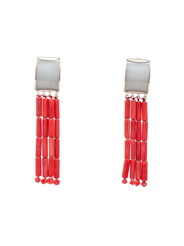 Angelite and Coral earrings