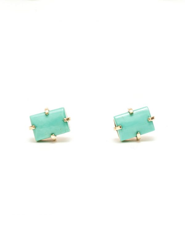 Rectangle Earrings – Gold & Turquoise