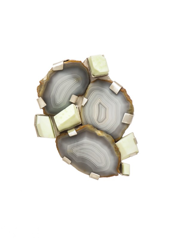 Agate & Magnesite Brooch