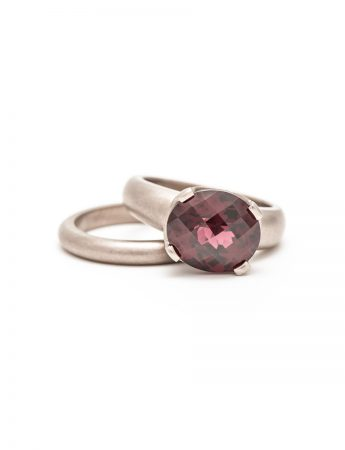 Rhodolite Garnet Ring – White Gold