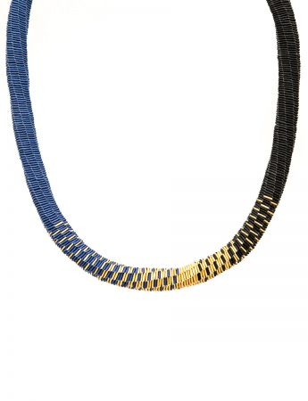 Skinny with Blue, Black and Gold necklace