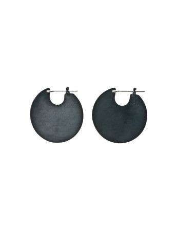 U Disc Earrings - Oxidised Silver