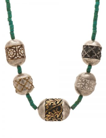 Italy Neckpiece - Silver & Turquoise