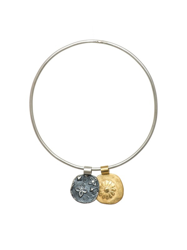 Two Circle Flowers Bracelet – Gold & Black