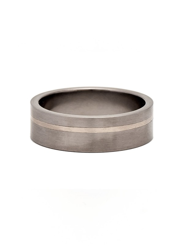 Stripe Ring – Titanium & Gold