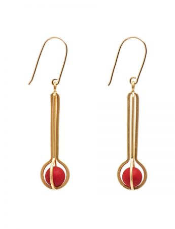 Ball Earrings - Gold & Red Acetal