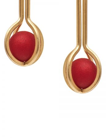 Ball Earrings – Gold & Red Acetal