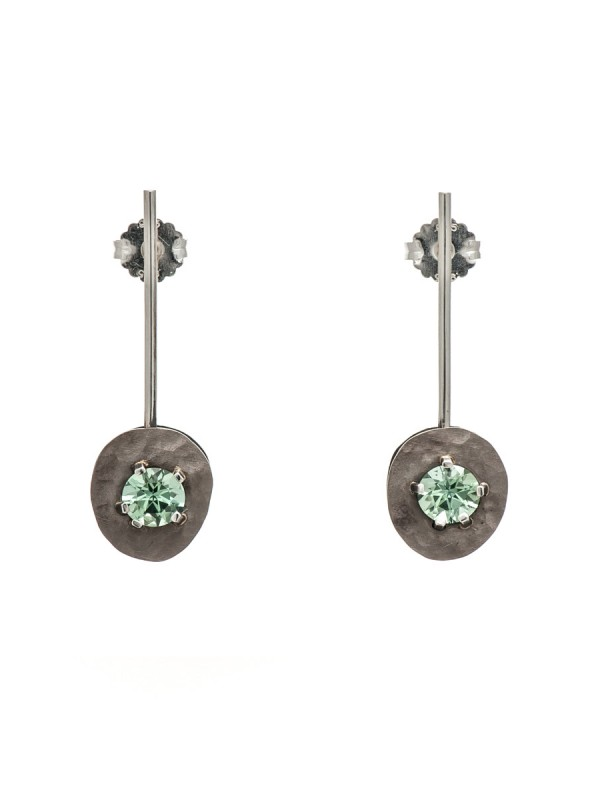 Drift Earrings – White Gold & Tourmaline