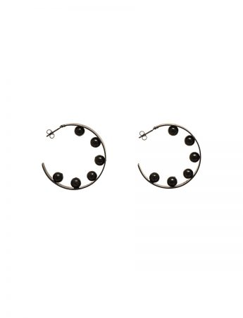 Inverted sphere hoop earrings
