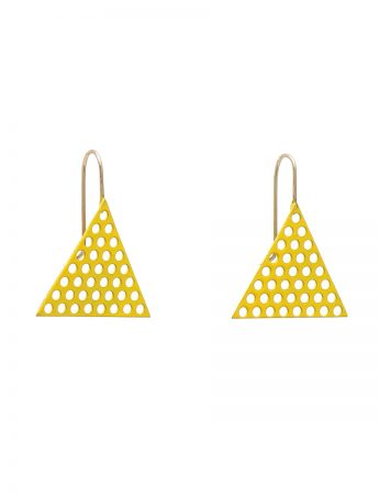 Yellow Powdercoated Triangle Earrings