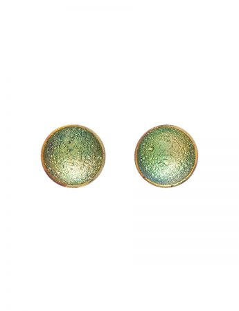 Dome Stud Earrings - Green & Yellow