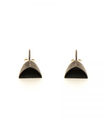 Boat Stud Earrings - Oxidised Silver