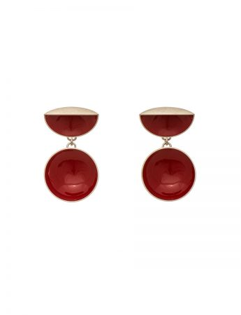 Half Shell & Drop Earrings - Red
