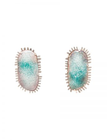 Enamelled Earrings - Aqua & White