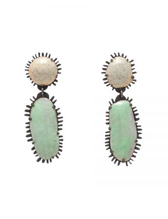 Enamelled Earrings - Sand & Mint Green