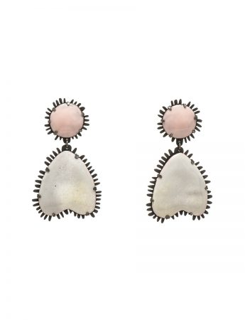Enamelled Earrings - Pale Pink & White