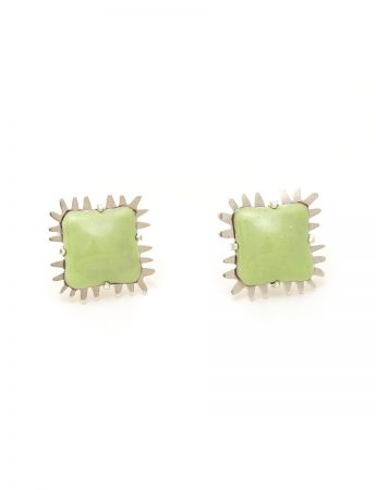 Enamelled Stud Earrings - Green