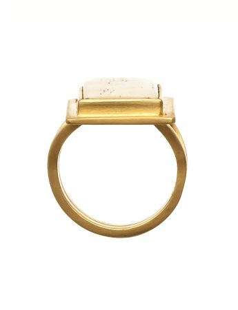 Bone and gold dress ring