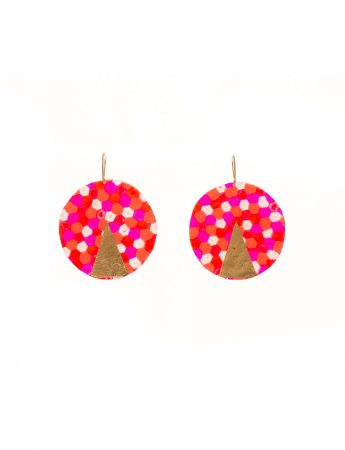 Large Circle Earrings - Honeycomb Pattern