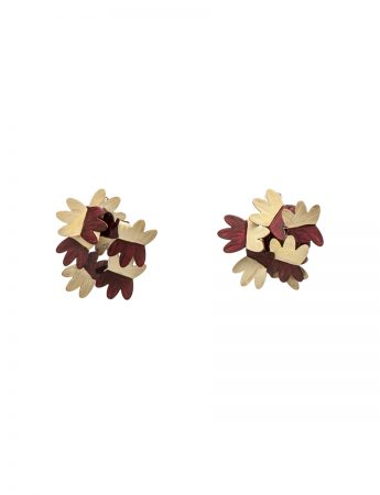 Floral Earrings - Cream & Burgundy