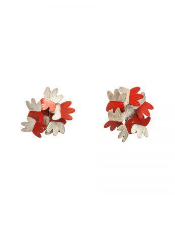 Floral Earrings - White & Red