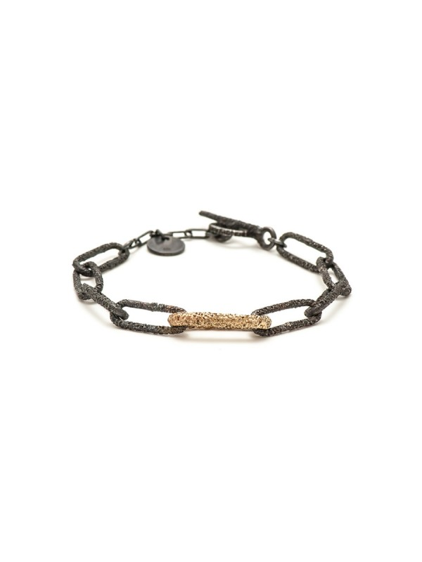 Lost Links Bracelet – Oxidised Silver & Gold