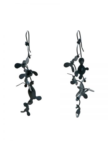 Long Botanical Earrings - Oxidised Silver