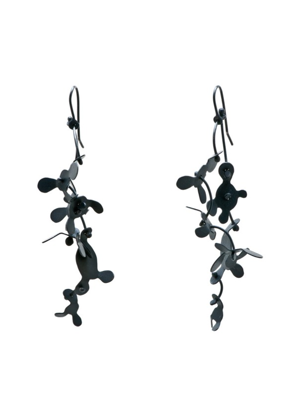 Long Botanical Earrings – Oxidised Silver