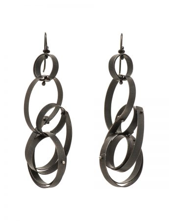 Large Fern Earrings - Oxidised Silver