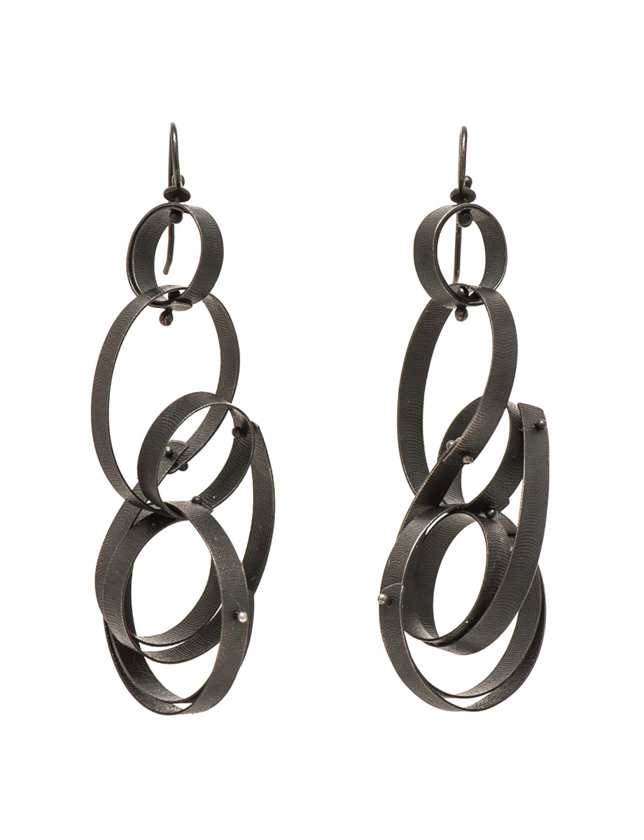 Large Fern Earrings – Oxidised Silver