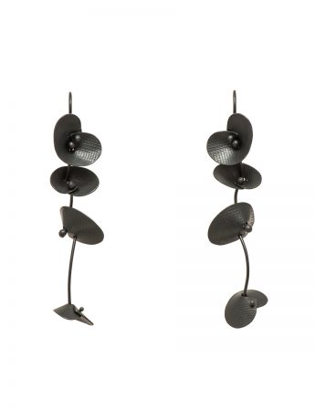 Long Orchid Earrings – Black
