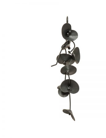 Orchid Earrings - Long Oxidised Silver