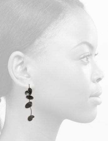 Long Orchid Earrings - Black