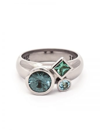 Clover Ring – Tourmaline Aquamarine Spinel