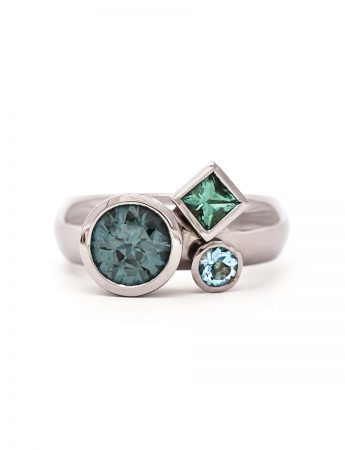 Clover Ring - Tourmaline Aquamarine Spinel