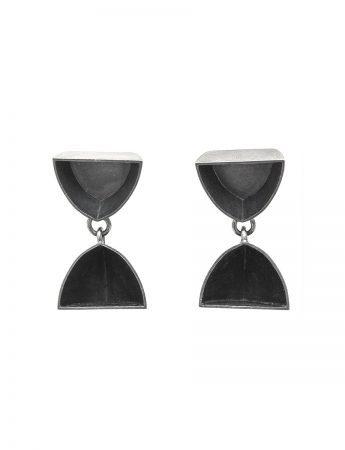 Half Pod & Boat Stud Earrings - Oxidised Silver