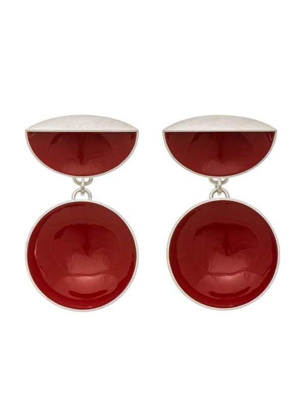 Half Shell & Drop Earrings – Red