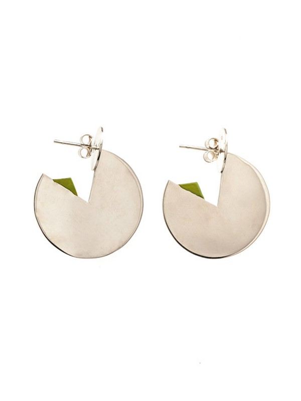 Silver Horizon Earrings – Green