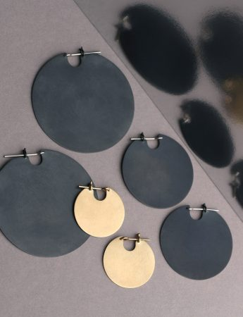 Small U Disc Earrings – Oxidised Silver
