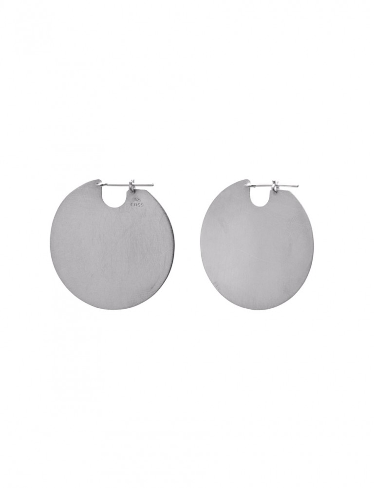Medium U Disc Earrings – Silver