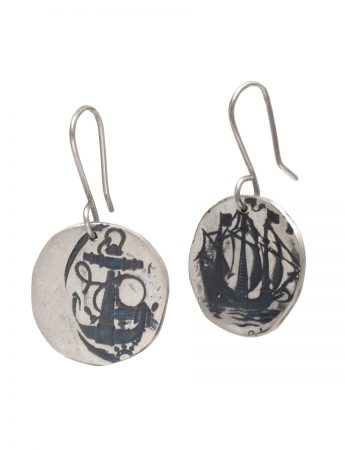 Ship & Anchor Earrings - Silver