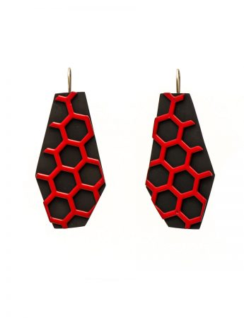 Red hexagon earrings