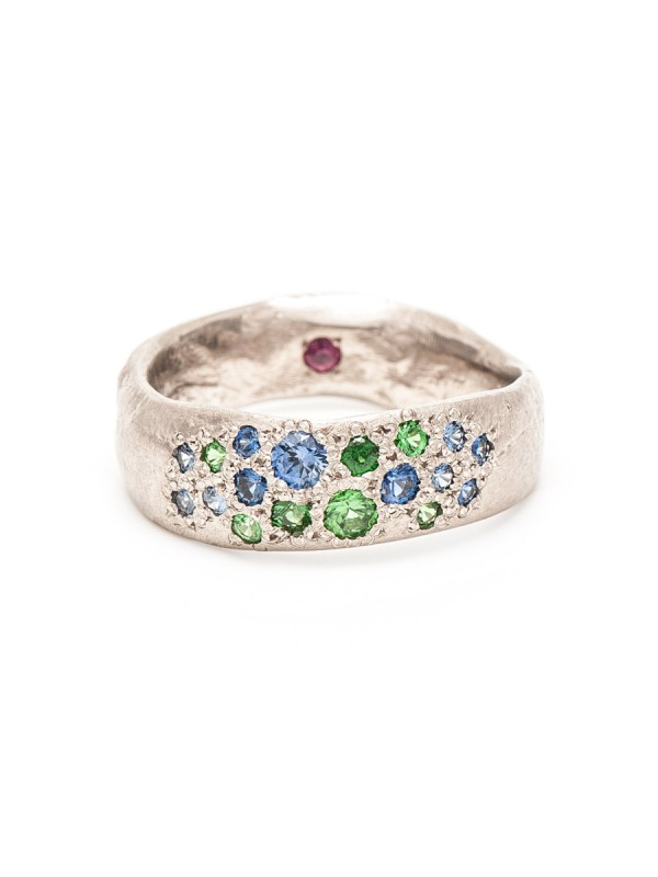 Random Ring – White Gold & Mixed Gemstones