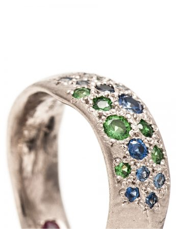 Random Ring - White Gold & Mixed Gemstones