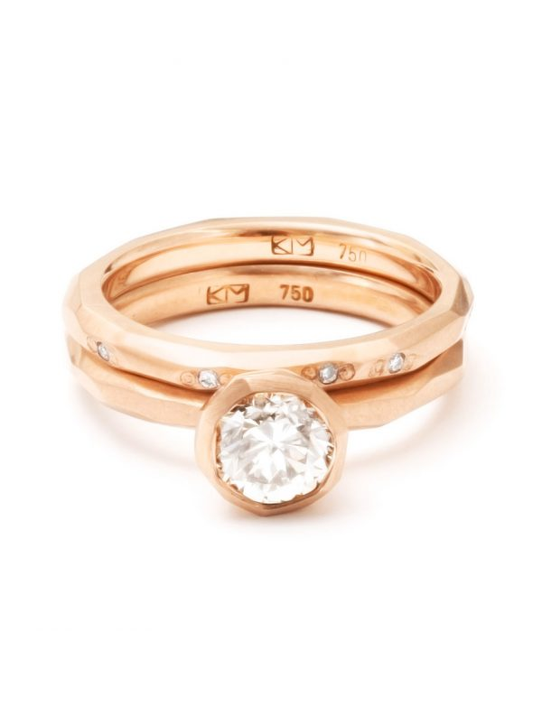 Faceted Diamond Band – Matte Rose Gold