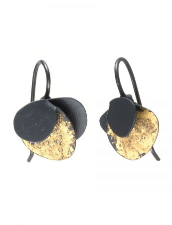 Violet Hook Earrings - Black & Gold