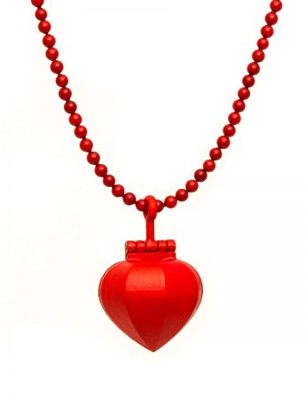 Large Sacred Heart Necklace - Red