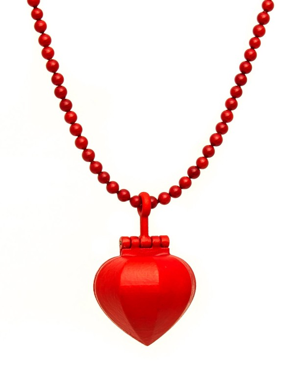 Large Sacred Heart Necklace – Red