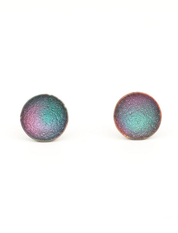 Dome Stud Earrings – Pink & Aqua