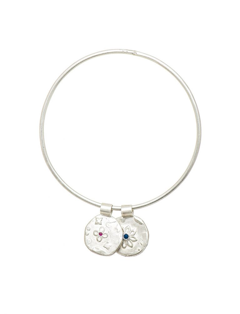 Two Circle Flowers Bracelet – Silver